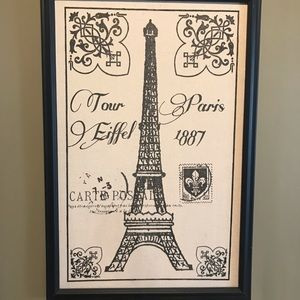 Paris Eiffel Tower framed wall hanging.